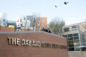 As part of the Aeroastro and Aeronautics Engineering presentation, students tested their gliders off the ledge of the Ray and Maria Stata Center.