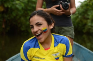 Valarezo traveling through Ecuador via kayak to film interviews with community members